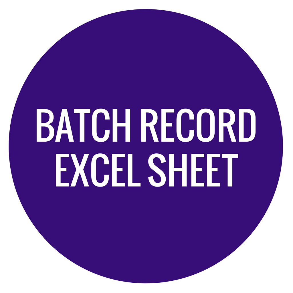 Batch Record Excel Sheet - Crafter's Choice
