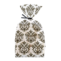 Bag & Tie Sets - Black White Damask (20 bags/pack)