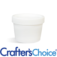 3.4 oz White Plastic Pot & Lid Set